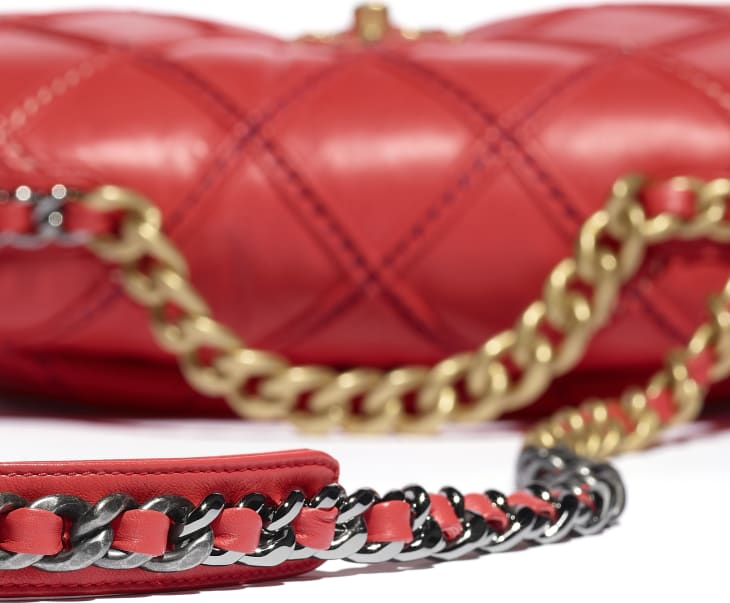 image 4 - CHANEL 19 Handbag - Lambskin, Mixed Fibers, Gold-Tone, Silver-Tone & Ruthenium-Finish Metal - Red