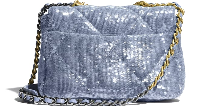 image 2 - CHANEL 19 Handbag - Sequins, Calfksin, Silver-Tone & Gold-Tone Metal - Sky Blue