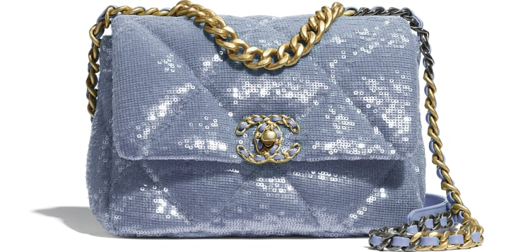 image 1 - CHANEL 19 Handbag - Sequins, Calfksin, Silver-Tone & Gold-Tone Metal - Sky Blue
