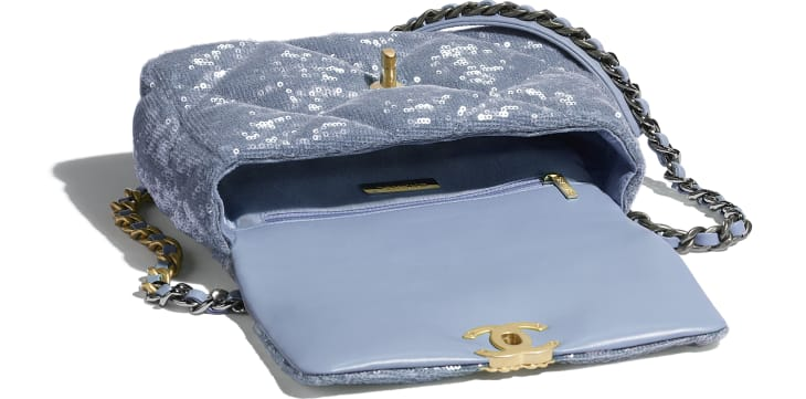 image 3 - CHANEL 19 Handbag - Sequins, Calfksin, Silver-Tone & Gold-Tone Metal - Sky Blue