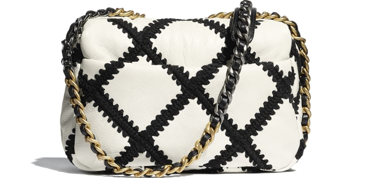 image 2 - CHANEL 19 ハンドバッグ - カーフスキン & クロシェ - ホワイト & ブラック