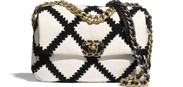 image 1 - CHANEL 19 Handbag - Calfskin, Crochet, Gold-Tone, Silver-Tone & Ruthenium-Finish Metal - White & Black