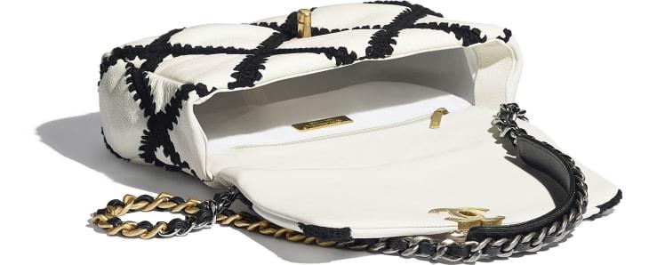 image 3 - CHANEL 19 Handbag - Calfskin, Crochet, Gold-Tone, Silver-Tone & Ruthenium-Finish Metal - White & Black