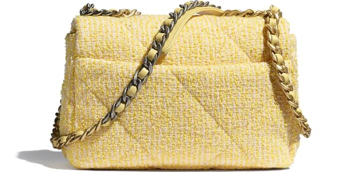image 2 - CHANEL 19 Handbag - Tweed, Gold-Tone, Silver-Tone & Ruthenium-Finish Metal - Yellow & Pink