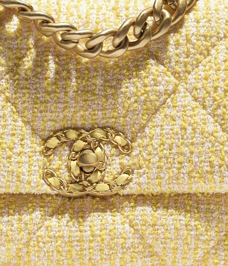 image 4 - CHANEL 19 Handbag - Tweed, Gold-Tone, Silver-Tone & Ruthenium-Finish Metal - Yellow & Pink