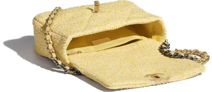 image 3 - CHANEL 19 Handbag - Tweed, Gold-Tone, Silver-Tone & Ruthenium-Finish Metal - Yellow & Pink