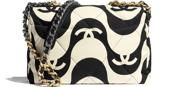 image 2 - Bolsa Grande CHANEL 19 - Printed Fabric, Gold-Tone, Silver-Tone & Ruthenium-Finish Metal - Preto & Bege