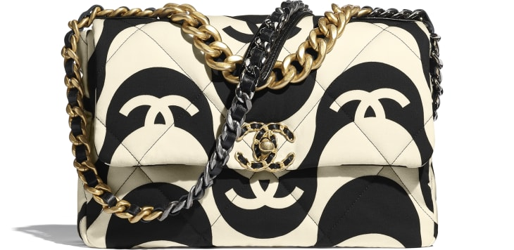 image 1 - Bolsa Grande CHANEL 19 - Printed Fabric, Gold-Tone, Silver-Tone & Ruthenium-Finish Metal - Preto & Bege