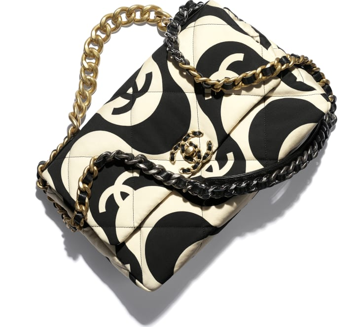 image 4 - Bolsa Grande CHANEL 19 - Printed Fabric, Gold-Tone, Silver-Tone & Ruthenium-Finish Metal - Preto & Bege