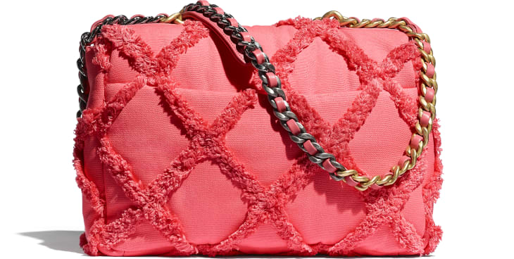image 2 - CHANEL 19 Large Flap Bag - Cotton Canvas, Calfskin, Gold-Tone, Silver-Tone & Ruthenium-Finish Metal - Coral