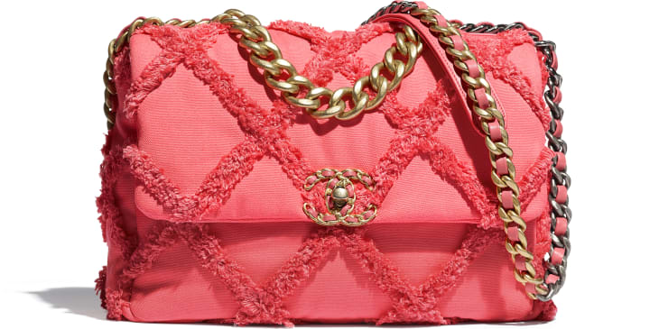 image 1 - CHANEL 19 Large Flap Bag - Cotton Canvas, Calfskin, Gold-Tone, Silver-Tone & Ruthenium-Finish Metal - Coral