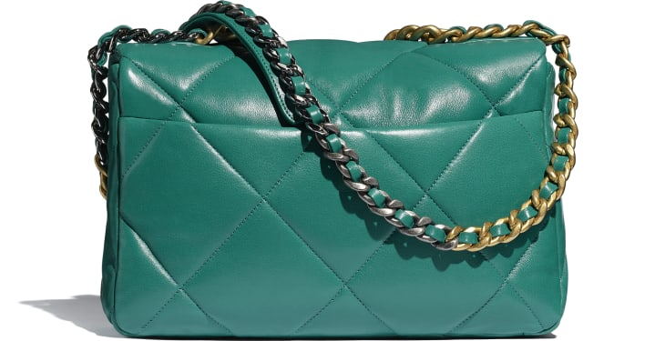 image 2 - CHANEL 19 Large Flap Bag - Lambskin, Gold-Tone, Silver-Tone & Ruthenium-Finish Metal - Green