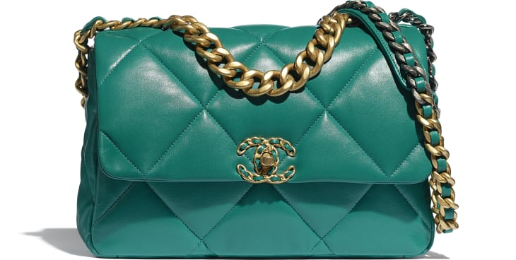 image 1 - CHANEL 19 Large Flap Bag - Lambskin, Gold-Tone, Silver-Tone & Ruthenium-Finish Metal - Green