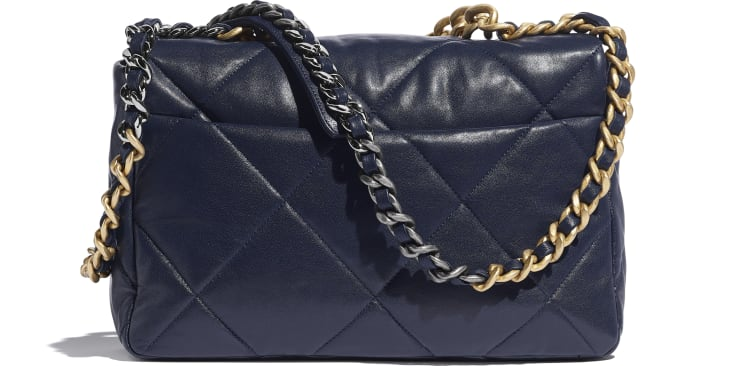 image 2 - CHANEL 19 Large Flap Bag - Lambskin, Gold-Tone, Silver-Tone & Ruthenium-Finish Metal - Navy Blue