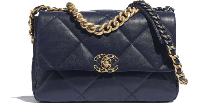 image 1 - CHANEL 19 Large Flap Bag - Lambskin, Gold-Tone, Silver-Tone & Ruthenium-Finish Metal - Navy Blue
