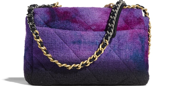 image 2 - CHANEL 19 Large Flap Bag - Wool Tweed, Gold-Tone, Silver-Tone & Ruthenium-Finish Metal - Purple, Black & Blue