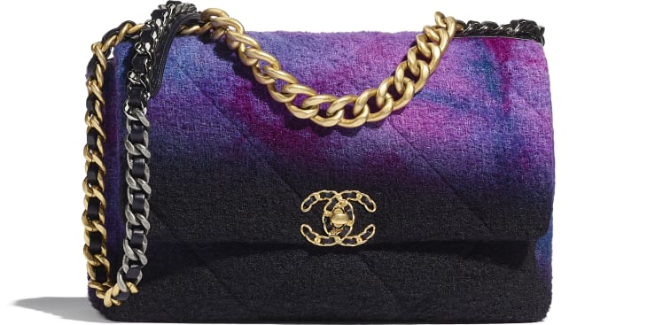 image 1 - CHANEL 19 Large Flap Bag - Wool Tweed, Gold-Tone, Silver-Tone & Ruthenium-Finish Metal - Purple, Black & Blue