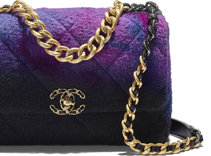 image 4 - CHANEL 19 Large Flap Bag - Wool Tweed, Gold-Tone, Silver-Tone & Ruthenium-Finish Metal - Purple, Black & Blue