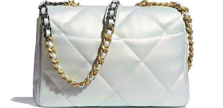 image 2 - CHANEL 19 Large Flap Bag - Iridescent Calfskin, Gold-Tone, Silver-Tone & Ruthenium-Finish Metal - White