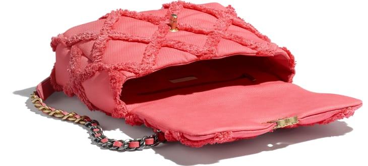 image 3 - CHANEL 19 Large Handbag - Cotton Canvas, Calfskin, Gold-Tone, Silver-Tone & Ruthenium-Finish Metal - Coral
