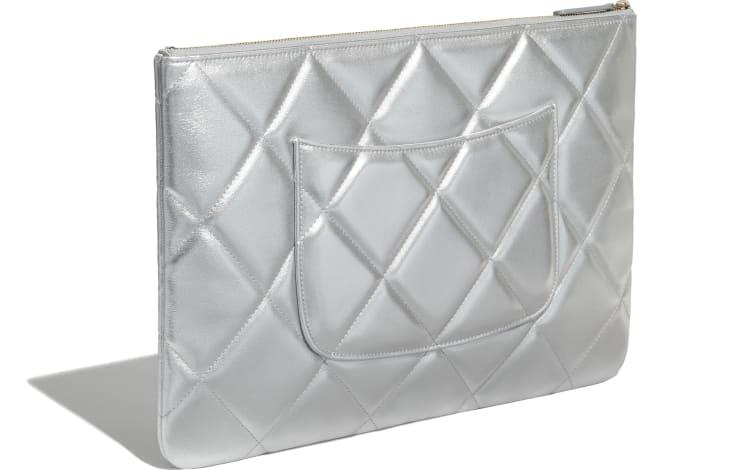 image 4 - CHANEL 19 Large Pouch - Metallic Lambskin, Gold-Tone, Silver-Tone & Ruthenium-Finish Metal - Silver