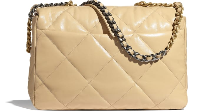 image 2 - CHANEL 19 Maxi Flap Bag - Shiny Goatskin, Gold-Tone, Silver-Tone & Ruthenium-Finish Metal - Beige
