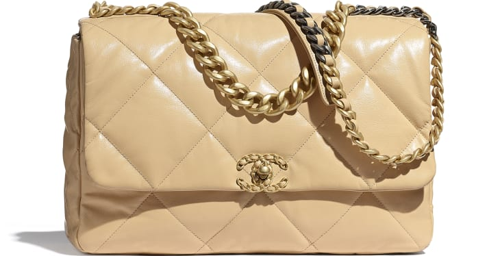 image 1 - CHANEL 19 Maxi Flap Bag - Shiny Goatskin, Gold-Tone, Silver-Tone & Ruthenium-Finish Metal - Beige