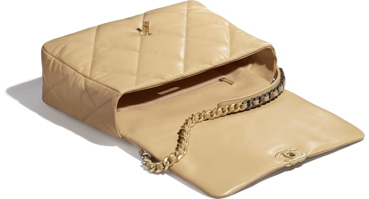 image 3 - CHANEL 19 Maxi Flap Bag - Shiny Goatskin, Gold-Tone, Silver-Tone & Ruthenium-Finish Metal - Beige