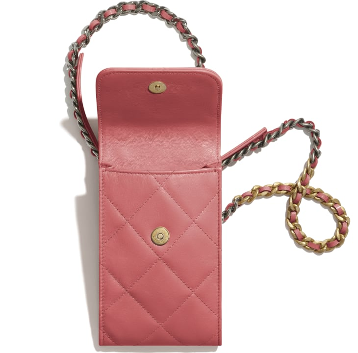 image 2 - CHANEL 19 Phone Holder with Chain - Lambskin, Gold-Tone, Silver-Tone & Ruthenium-Finish Metal - Coral