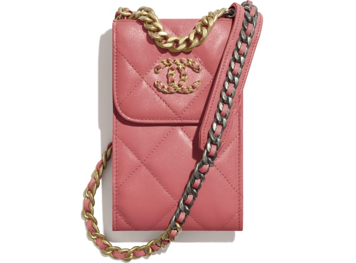 image 1 - CHANEL 19 Phone Holder with Chain - Lambskin, Gold-Tone, Silver-Tone & Ruthenium-Finish Metal - Coral