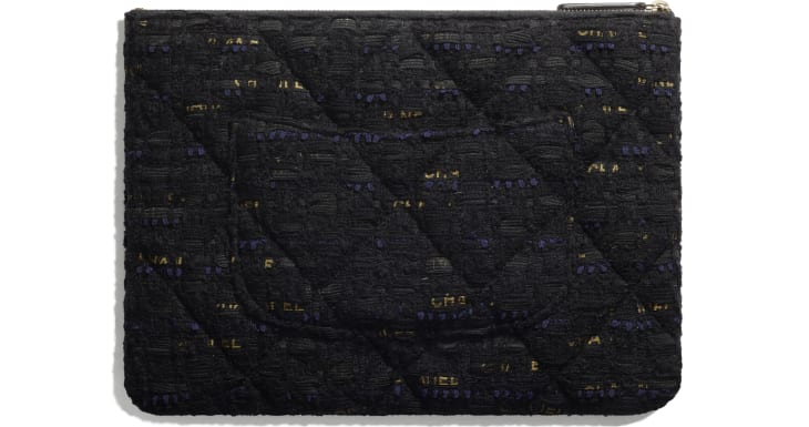image 2 - CHANEL 19 Pouch - Tweed & Gold-Tone Metal - Black, Navy Blue & Gold