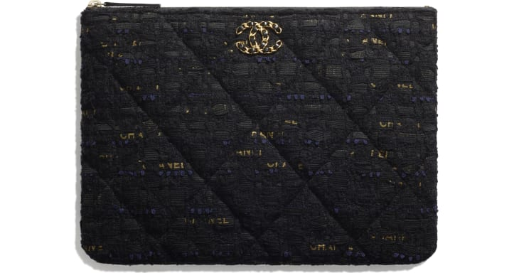 image 1 - CHANEL 19 Pouch - Tweed & Gold-Tone Metal - Black, Navy Blue & Gold