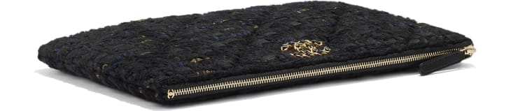 image 4 - CHANEL 19 Pouch - Tweed & Gold-Tone Metal - Black, Navy Blue & Gold