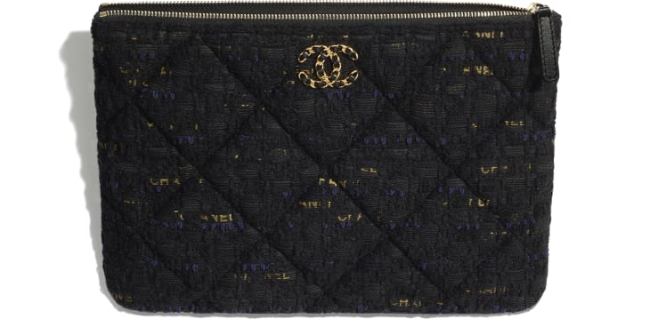 image 3 - CHANEL 19 Pouch - Tweed & Gold-Tone Metal - Black, Navy Blue & Gold