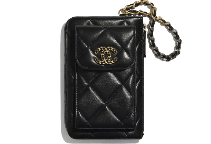 image 1 - CHANEL 19 Pouch with Handle - Lambskin, Gold-Tone, Silver-Tone & Ruthenium-Finish Metal - Black