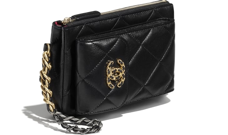 image 4 - CHANEL 19 Pouch with Handle - Lambskin, Gold-Tone, Silver-Tone & Ruthenium-Finish Metal - Black