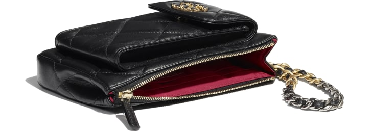 image 3 - CHANEL 19 Pouch with Handle - Lambskin, Gold-Tone, Silver-Tone & Ruthenium-Finish Metal - Black