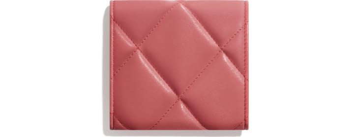 image 2 - CHANEL 19 Small Flap Wallet - Lambskin, Gold-Tone, Silver-Tone & Ruthenium-Finish Metal - Coral