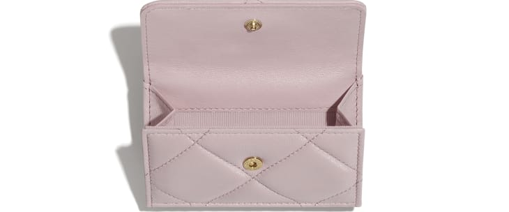 image 2 - CHANEL 19 Small Flap Wallet - Lambskin, Gold-Tone, Silver-Tone & Ruthenium-Finish Metal - Light Pink