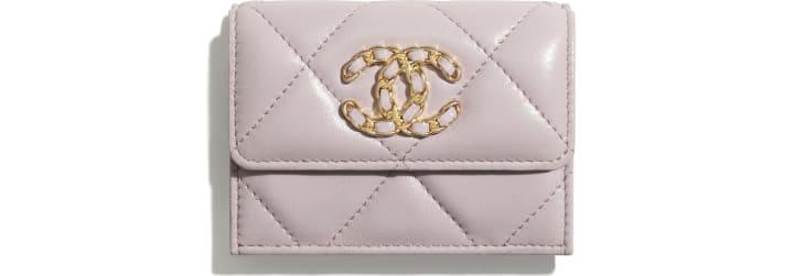 image 1 - Petit portefeuille à rabat CHANEL 19 - Agneau, métal doré, argenté & finition ruthénium - Rose clair