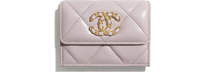 image 1 - CHANEL 19 Small Flap Wallet - Lambskin, Gold-Tone, Silver-Tone & Ruthenium-Finish Metal - Light Pink