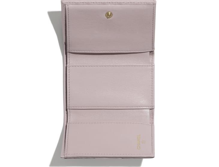 image 3 - CHANEL 19 Small Flap Wallet - Lambskin, Gold-Tone, Silver-Tone & Ruthenium-Finish Metal - Light Pink