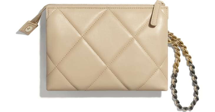 image 2 - CHANEL 19 Small Pouch with Handle - Shiny Goatskin, Gold-Tone, Silver-Tone & Ruthenium-Finish Metal - Beige