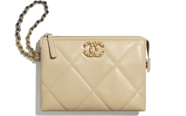 image 1 - CHANEL 19 Small Pouch with Handle - Shiny Goatskin, Gold-Tone, Silver-Tone & Ruthenium-Finish Metal - Beige