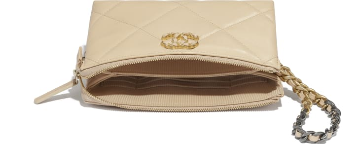 image 4 - CHANEL 19 Small Pouch with Handle - Shiny Goatskin, Gold-Tone, Silver-Tone & Ruthenium-Finish Metal - Beige