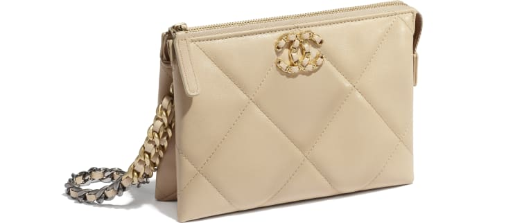 image 3 - CHANEL 19 Small Pouch with Handle - Shiny Goatskin, Gold-Tone, Silver-Tone & Ruthenium-Finish Metal - Beige