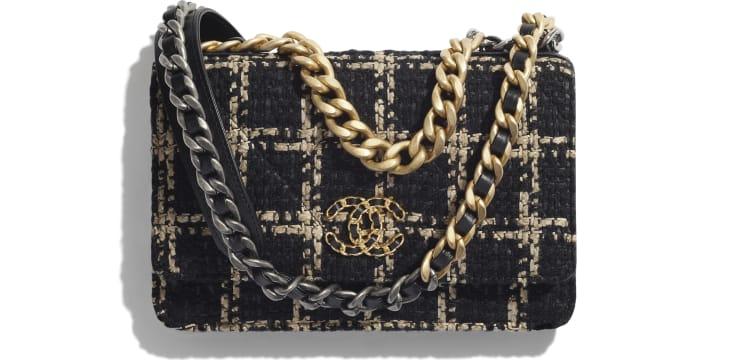 image 1 - Carteira com corrente CHANEL 19 - Tweed, Metais dourado, prateado & rutênio - Preto & Bege