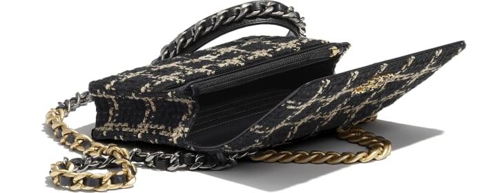 image 3 - Carteira com corrente CHANEL 19 - Tweed, Metais dourado, prateado & rutênio - Preto & Bege