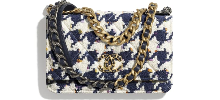 image 1 - CHANEL 19 Wallet on Chain - Tweed, Gold-Tone, Silver-Tone & Ruthenium-Finish Metal - Ecru, Navy Blue & Multicolor