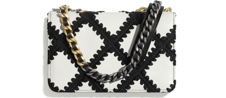image 2 - CHANEL 19 Wallet on Chain - Calfskin, Crochet, Gold-Tone, Silver-Tone & Ruthenium-Finish Metal - White & Black